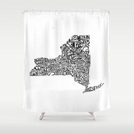 Typographic New York Shower Curtain