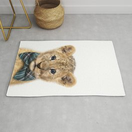 Baby Lion With Bow Tie, Baby Animals Art Print By Synplus Rug