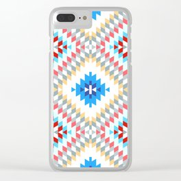 Colorful patchwork mosaic oriental kilim rug with traditional folk geometric ornament Clear iPhone Case