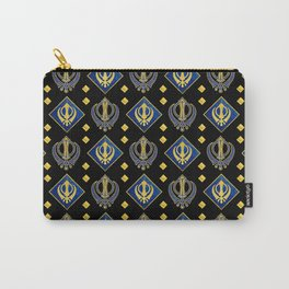 Gold and Lapis Lazuli Khanda symbol pattern Carry-All Pouch