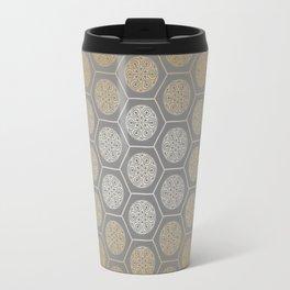 Hexagonal Dreams - Orange Gradient Travel Mug