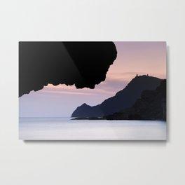 Half Moon beach. Vela tower cliff. Metal Print