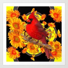 RED CARDINAL SUNFLOWERS BLACK ART Art Print