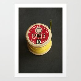 Yellow Vintage Cotton Reel Art Print