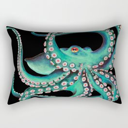 Octopus Tentacles Dance Teal Watercolor Ink Black Rectangular Pillow