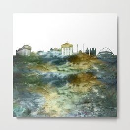 Athens City Skyline Greece Metal Print