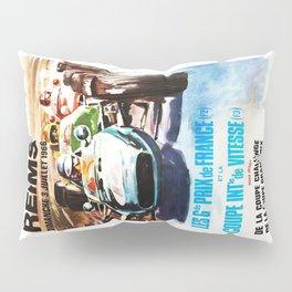 Gran Prix de Reims 1966, vintage poster, race poster, car poster Pillow Sham