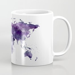 Purple World Map Coffee Mug