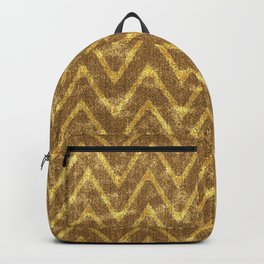 Faux Suede Chocolate and Gold Chevron Pattern Backpack