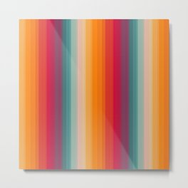Retro Rainbow Striped Pattern Metal Print