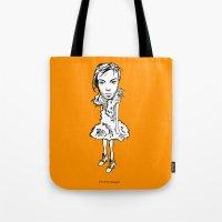 bjork Tote Bags featuring Bjork by Pat Pot Designs