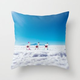 Mini Llamas on the Bolivia Salt Flats Throw Pillow