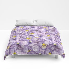 Watercolor floral pattern with violet pansies Comforters