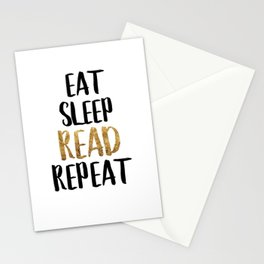 Eat Sleep Read Repeat Gold Stationery Cards