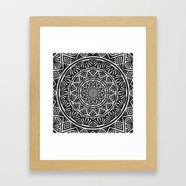 Black and White Simple Simplistic Mandala Design Ethnic Tribal Pattern Framed Art Print