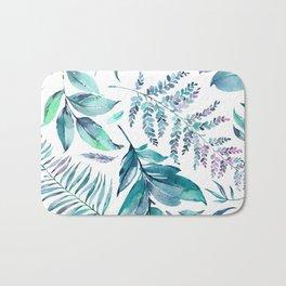 Teal manic botanic Bath Mat