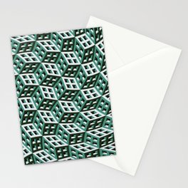 Abstract twisted cubes Stationery Cards