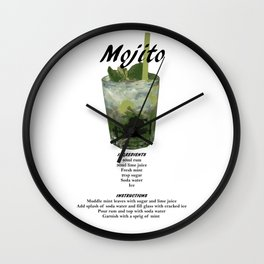 Mojito - Classic Cocktail Recipe Wall Clock