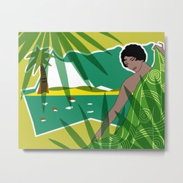 ANACAPRI: Art Deco Lady in Green and Yellow Metal Print