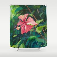 hibiscus Shower Curtains featuring Hibiscus by Katie Lillard Art