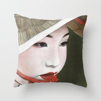geisha Throw Pillows featuring Geisha by Andrea Maiorana