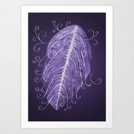 Violet Swirly Leaf Art Print