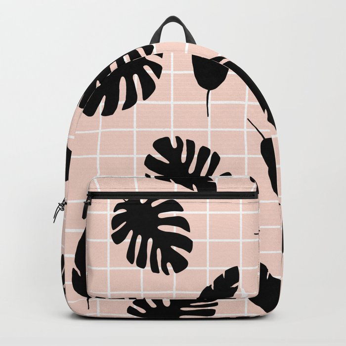 Graphic Tropical Leaves on Grid Black and Pink Backpack