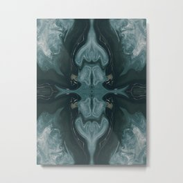 Abstract Fractal in Green Metal Print