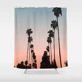 California Sunset // Palm Tree Silhouette Street View Orange and Blue Color Sky Beach Photography Shower Curtain