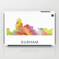 north carolina iPad Cases featuring Durham North Carolina Skyline by Marlene Watson