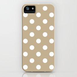 Polka Dots - White on Khaki Brown iPhone Case
