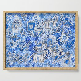 Delft Blue and White Pattern Painting with Lions and Tigers and Birds Serving Tray