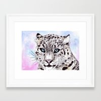 snow leopard Framed Art Prints featuring Snow Leopard by KimCarter