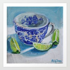 Blue Willow with Limes Art Print
