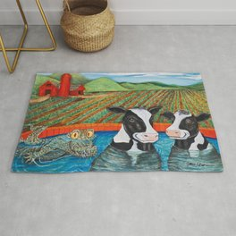 Cows in a Hot Tub Rug