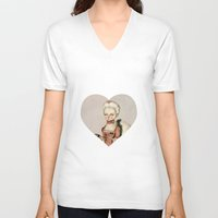 marie antoinette V-neck T-shirts featuring Marie Antoinette by Maripili