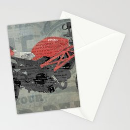 Red motorcycle newspaper collage, now is the time, original abstract artwork Stationery Cards