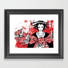 GEISHA - Japan | Vector | Manga | Blood | Kimono | Butterfly | Kabuki | Anime | Vector Framed Art Print