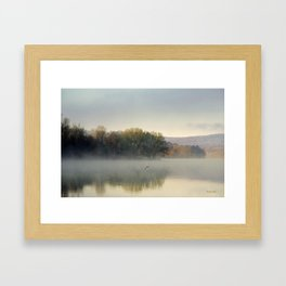 Misty Lake Sunrise Framed Art Print