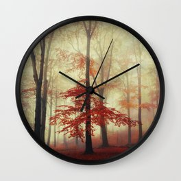 Fall in Red - Beech Tree with red foliage Wall Clock