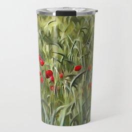 Cornfield Poppy Landscape Travel Mug