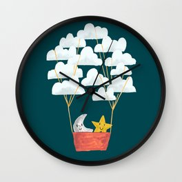 Hot cloud baloon - moon and star Wall Clock