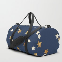Navy blue faux gold glitter elegant starry pattern Duffle Bag