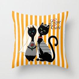 Love Cats Wedding Throw Pillow
