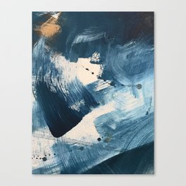 Against the Current: A bold, minimal abstract acrylic piece in blue, white and gold Canvas Print