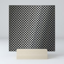 Black and Silver Gray Ghost Checkerboard Weimaraner Mini Art Print