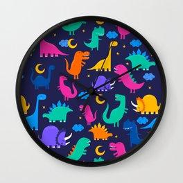 Dinosaurs At Night Rainbow Dinosaur Kids Pattern Wall Clock
