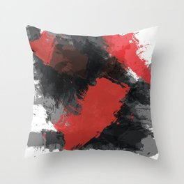 Red and Black Paint Splash Throw Pillow