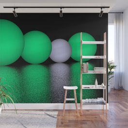 spheres and reflections - green Wall Mural