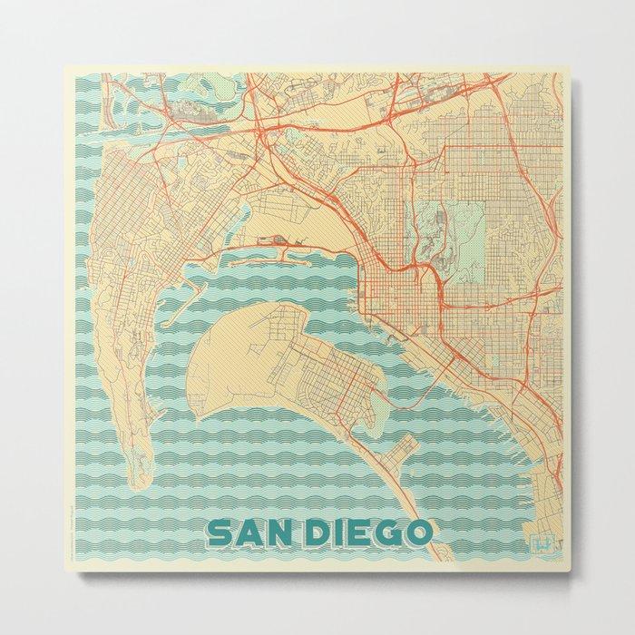 San Diego Map Retro Metal Print